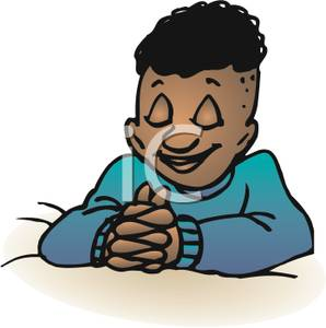 Clipart Image Of A Black Boy Praying At Bedtime