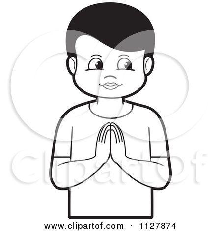 Clipart Of A Boy Praying   Royalty Free Vector Illustration By Lal
