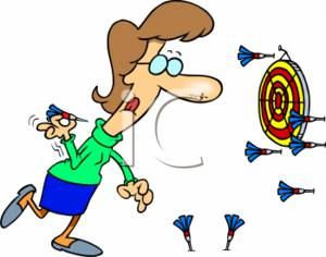 Clipart Of A Businesswoman Throwing Darts At A Dartboard