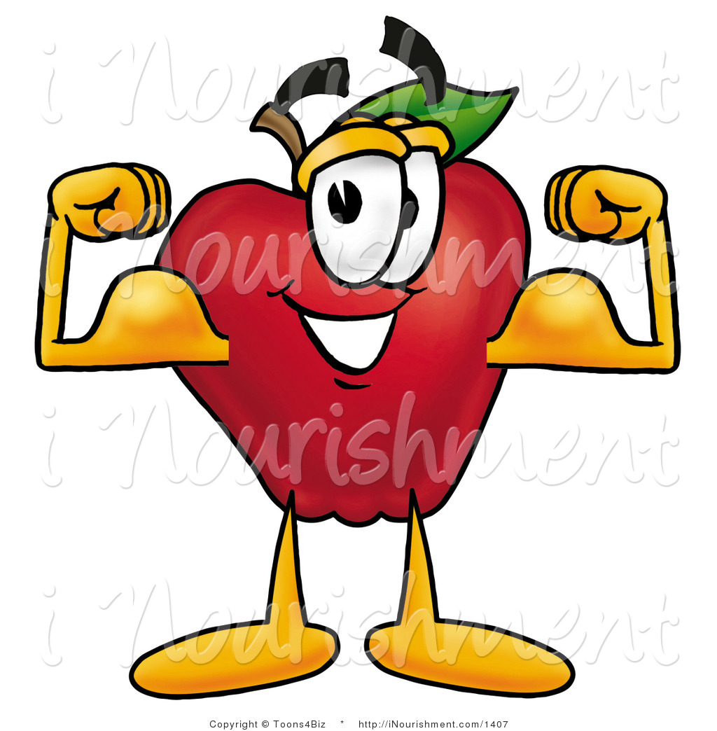 clipart strong red apple character mascot flexing his arm bicep