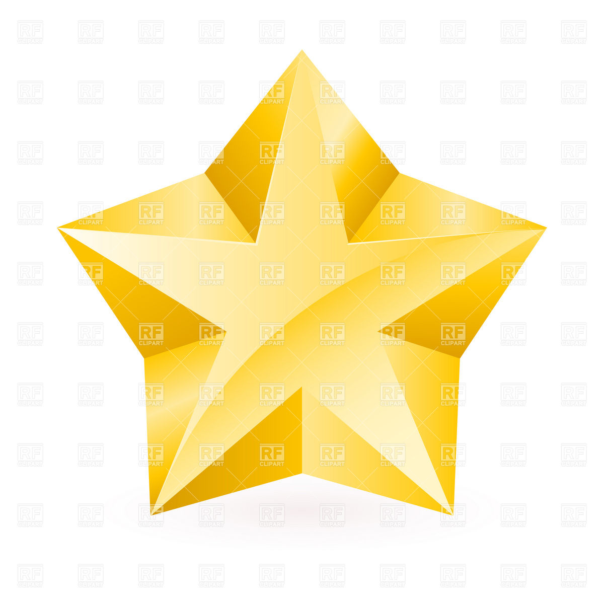 Gold Five Point Facet Star Download Royalty Free Vector Clipart  Eps