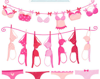 Lingerie Line Cute Digital Clipart   Commercial Use Ok   Bras On
