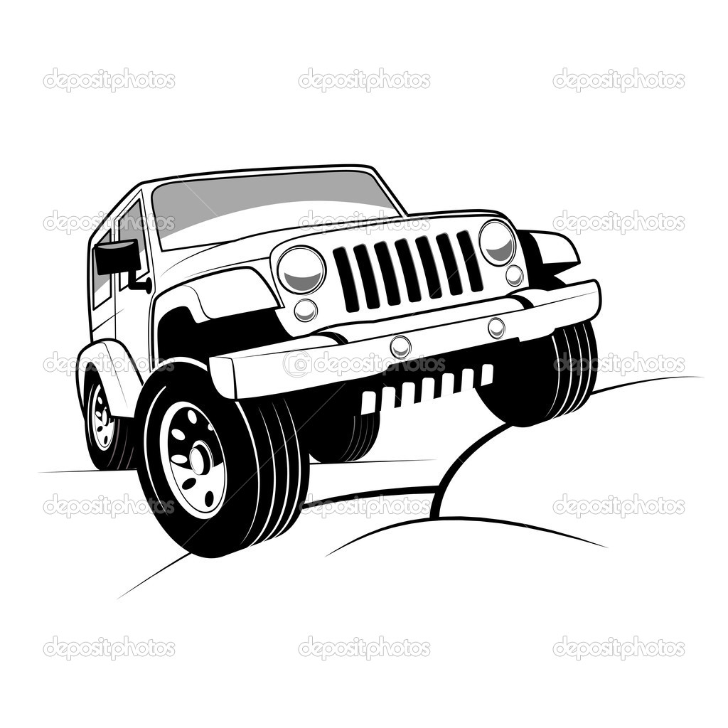 Monochrome Detailed Cartoon Off Road Jeep Climbing Rocks   Stock