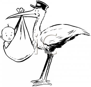 New Baby Clipart   Retro Stork With Baby   New Baby Clipart   Pintere