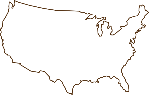 Outline Of United States Map Brown Clip Art At Clker Com   Vector Clip