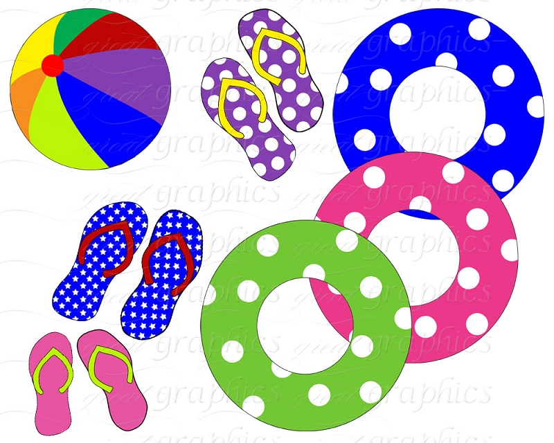 Pool Party Clip Art Pool Party Water Slide Flipper Digital Clipart