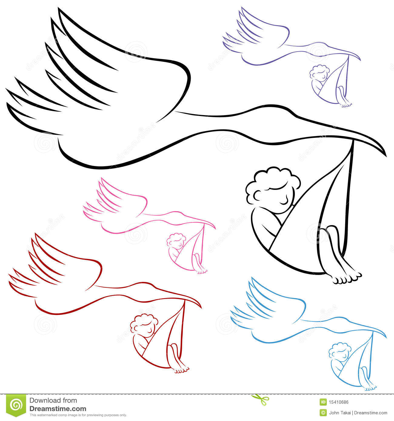 Stork Baby Black And White Clipart - Clipart Kid