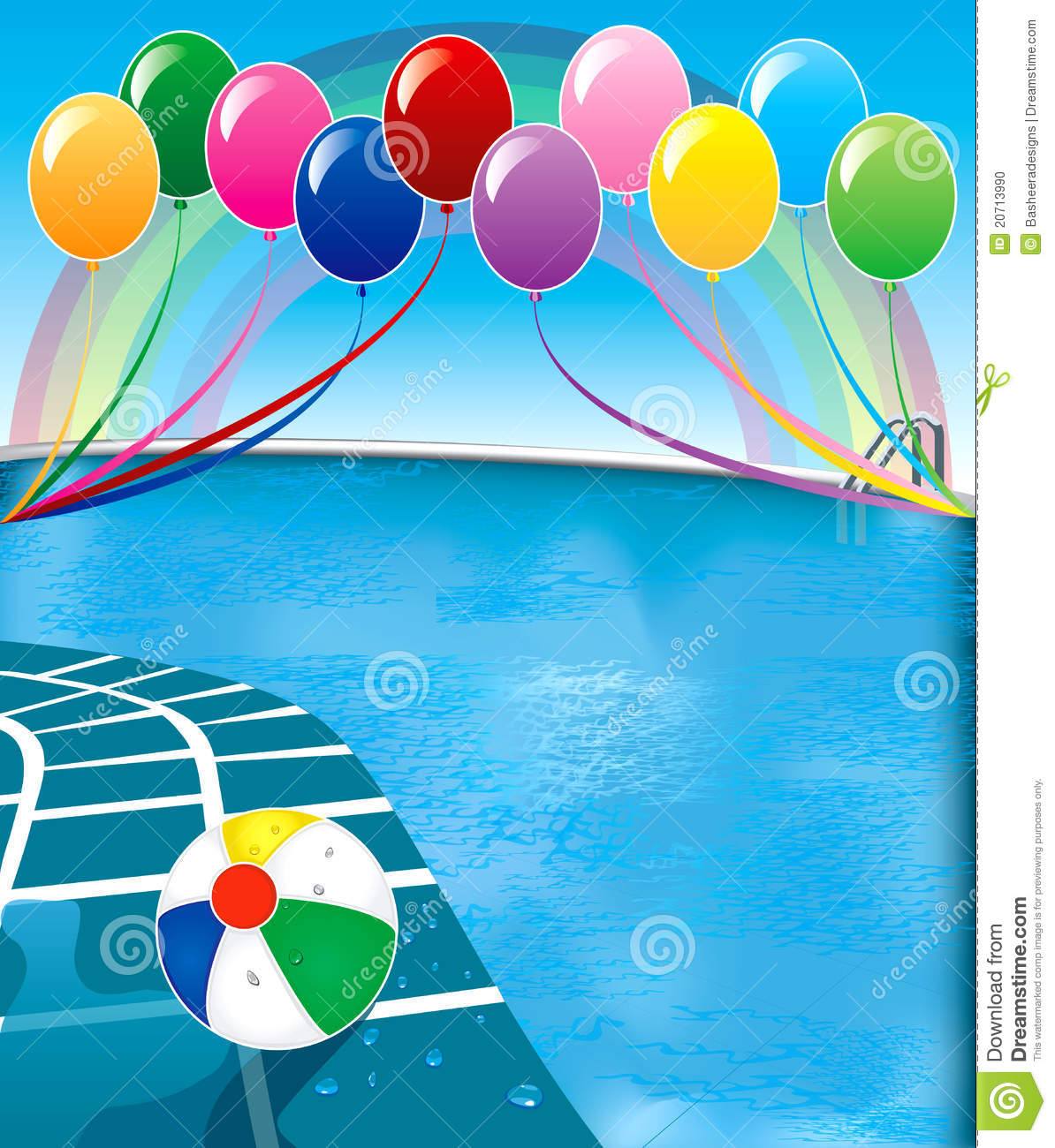 Vector illustration of pool party with balloons and beach ball