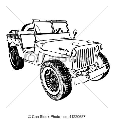 Vector Of Vintage Wwii American Jeep Engraving Vector Illustration