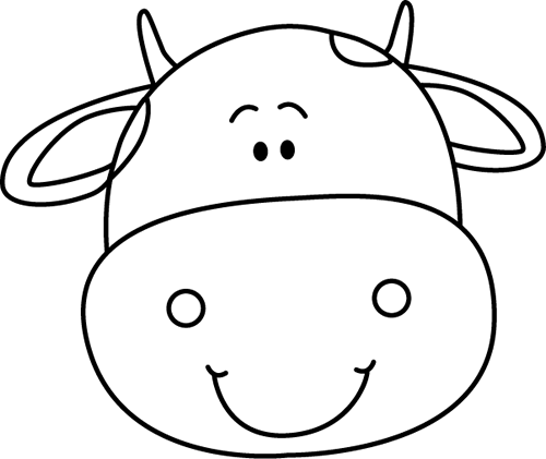 Black And White Cow Head Clip Art   Black And White Cow Head Image