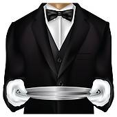 Butler Torso Dressed In Tux   Clipart Graphic