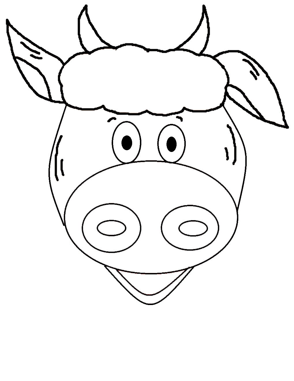 Cartoon Cow Face Outline 15 Cow Template Printable