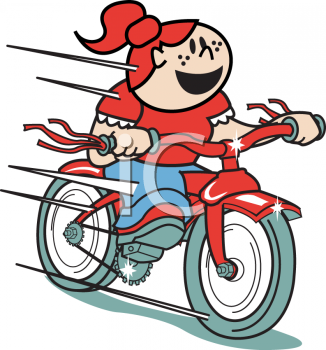 Clipart Picture Of A Girl Riding A Vintage Bicycle