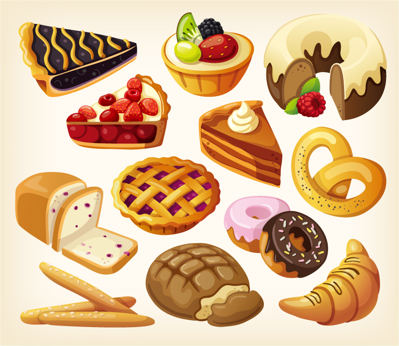 Delicious Dessert Pastries Vector Material Cartoon Deliciousdessert