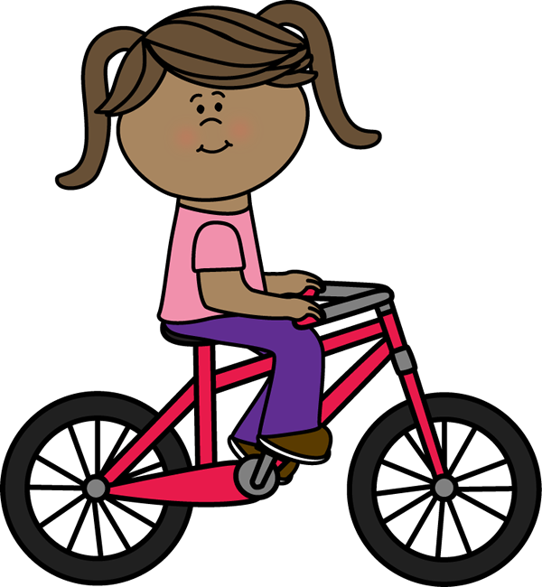 Girl Riding A Bicycle Clip Art Image   Girl Riding A Dark Pink Bicyle