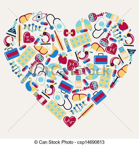 Health Care Icons In The Shape Of Heart Csp14690813   Search Clipart