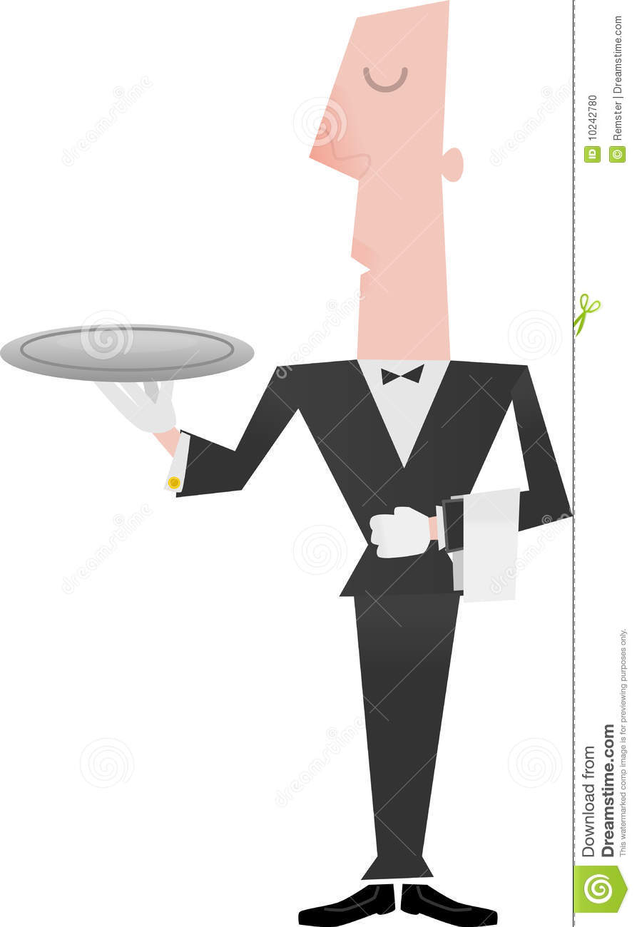 Illustration Of A Butler Or Waiter Holding An Empty Tray