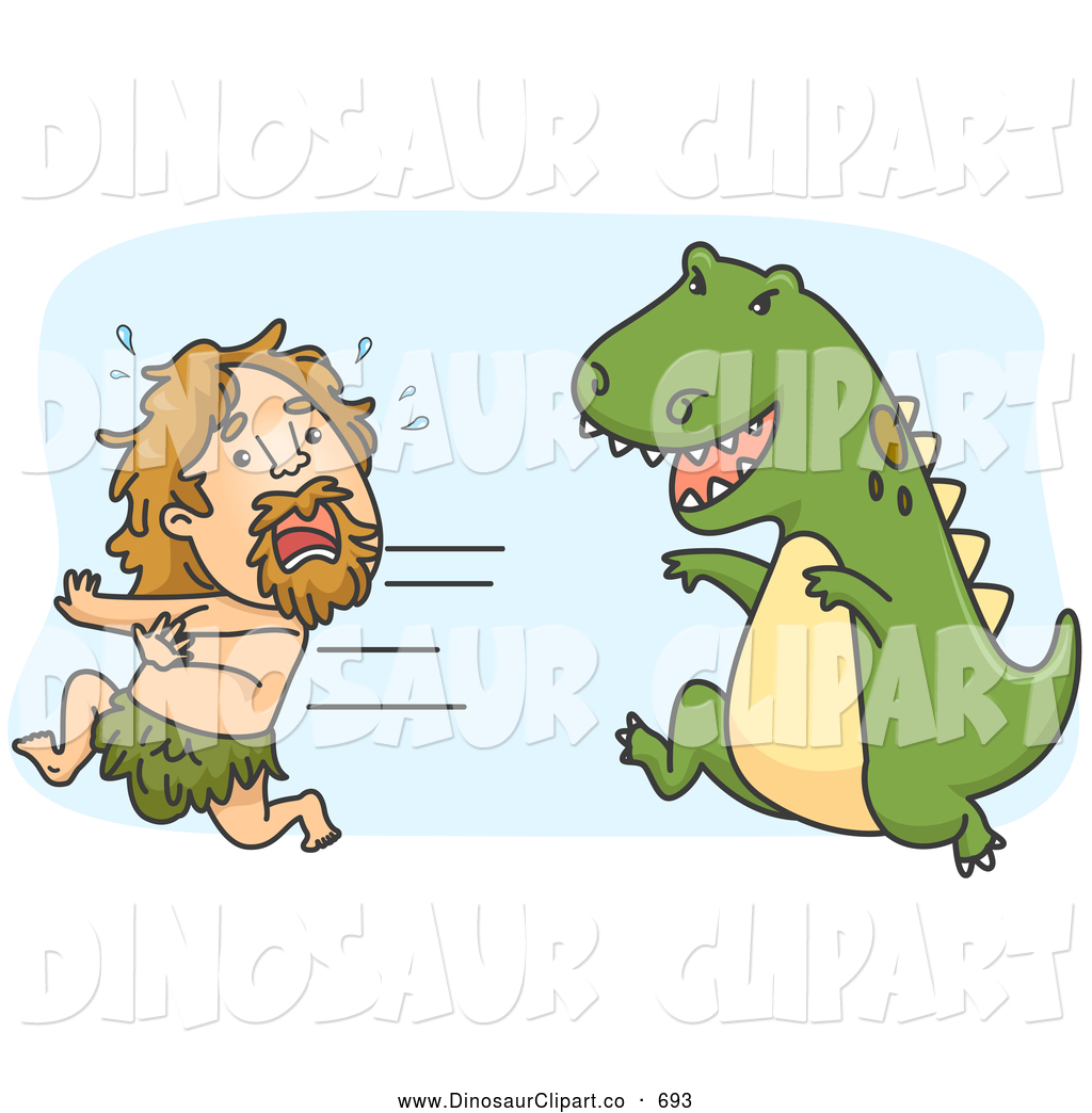 Larger Preview  Vector Clip Art Of A Cute Caveman Running From A