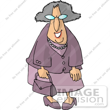 Old Caucasian Woman In Purple Clothing Clipart    15020 By Djart