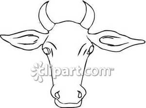 Outline Of A Cow S Face   Royalty Free Clipart Picture