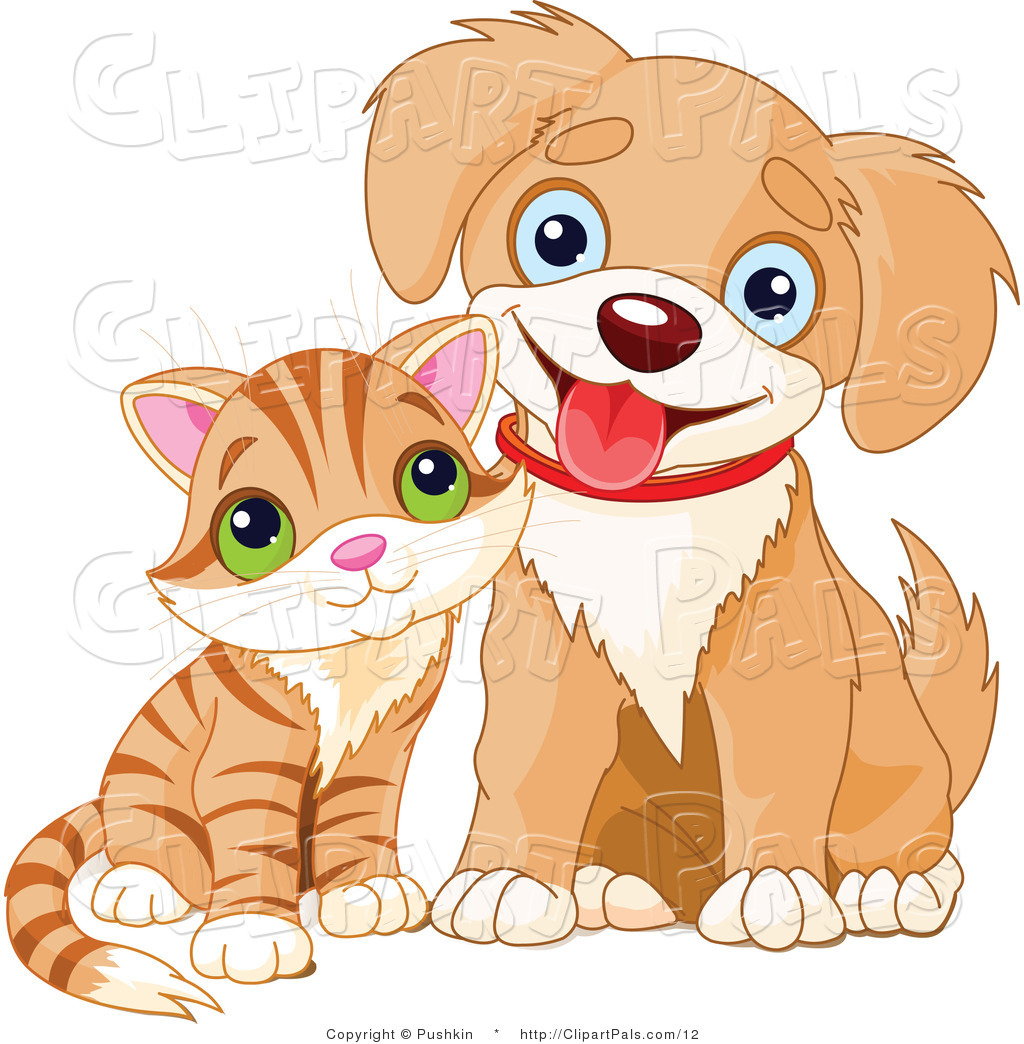 Pal Clipart Of A Cute Striped Kitten And Happy Puppy By Pushkin    12