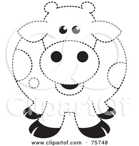 Rf  Clipart Illustration Of A Fat Black And White Spotted Cow Outline