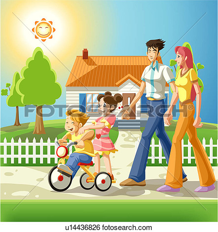 Stock Illustration   Family On An Evening Walk  Fotosearch   Search