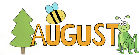 August Nature Clip Art Image   The Word August In Orange Letters