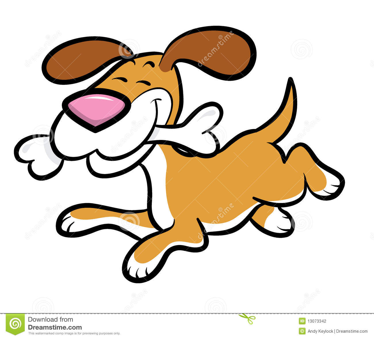 Cartoon Dog Running With Bone Stock Photography   Image  13073342