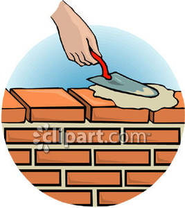 Cement Clipart A Person Spreading Cement On A Brick Wall Using A