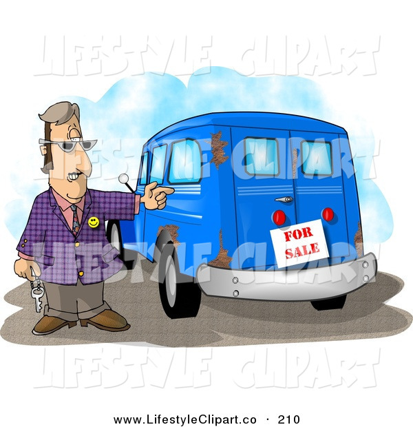 Clip Art Of A Shifty Car Salesman Trying To Sell An Old Rusty Vehicle
