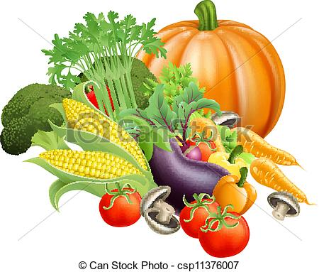 Clipart Of Healthy Fresh Produce Vegetables   Illustration Of Produce