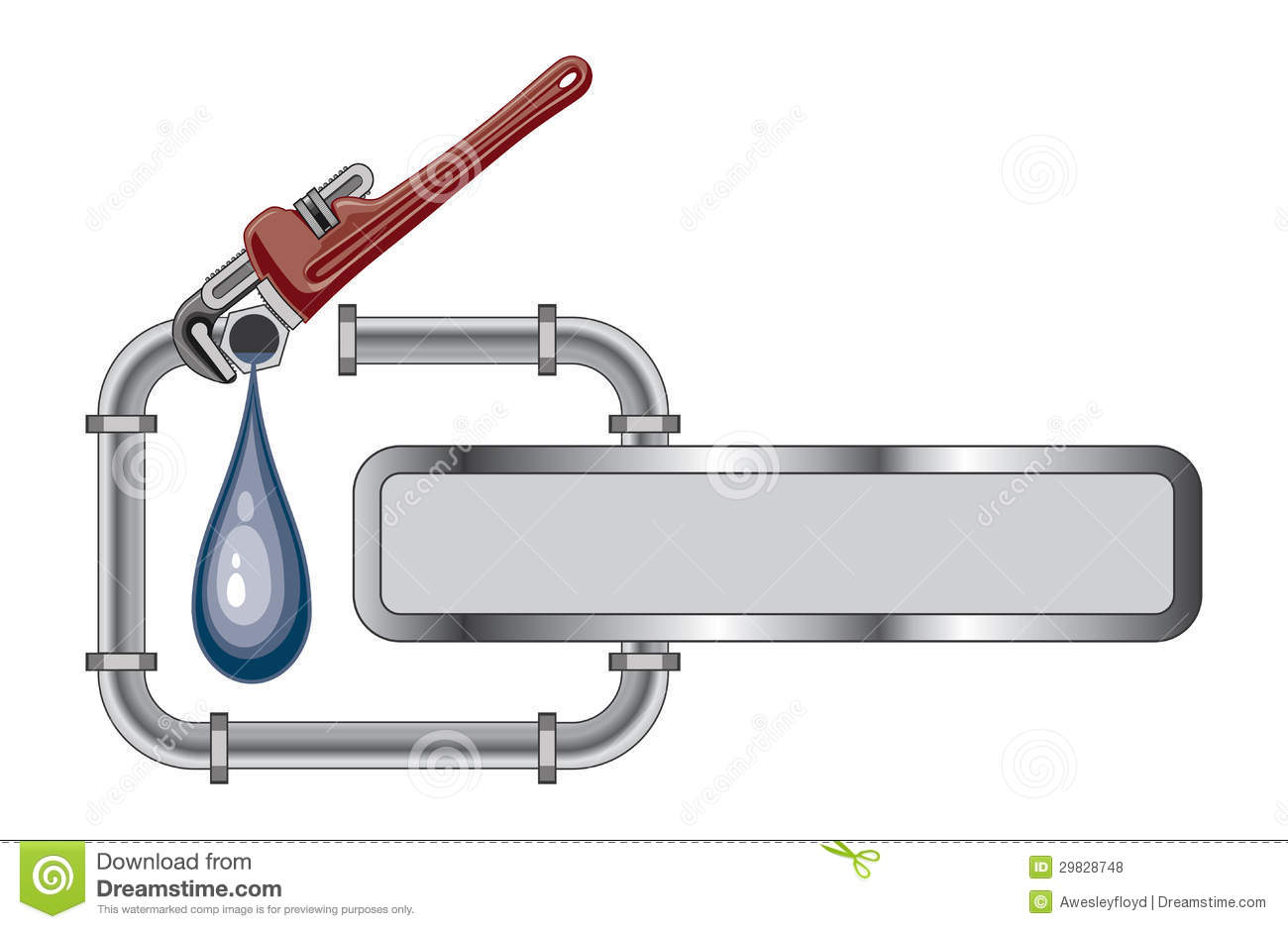 Illustration Of A Plumbing Design With Pipes Adjustable Wrench And