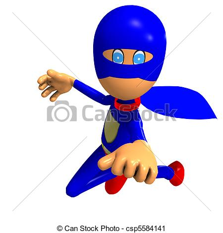 Stock Illustration Funny Cartoon Super Hero  3d Rendering With And