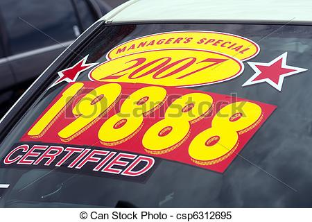Stock Photo   Price Sticker On Used Car Lot   Stock Image Images