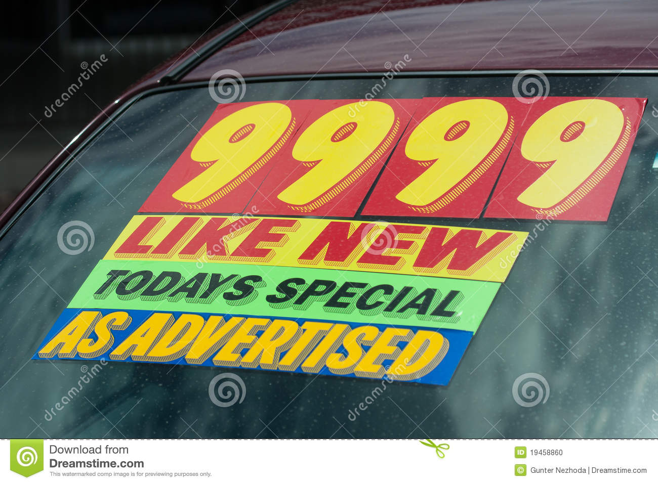 Used Car Lot Price Sticker Stock Photo   Image  19458860