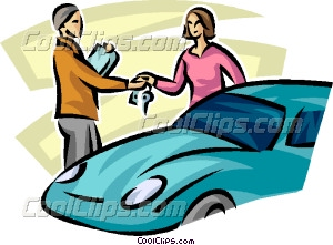 Woman Getting The Keys Of Her Vector Clip Art