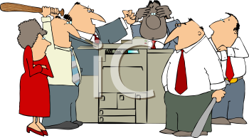 Angry Mob Attacking An Office Copier   Royalty Free Clip Art Image