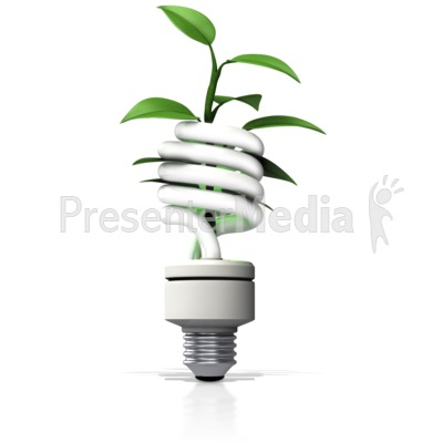 Cfl Light With Plant Growing Out   Wildlife And Nature   Great Clipart