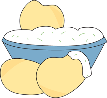 Chips And Dip Clip Art Image   Blue Bowl Filled With Dip And Potato