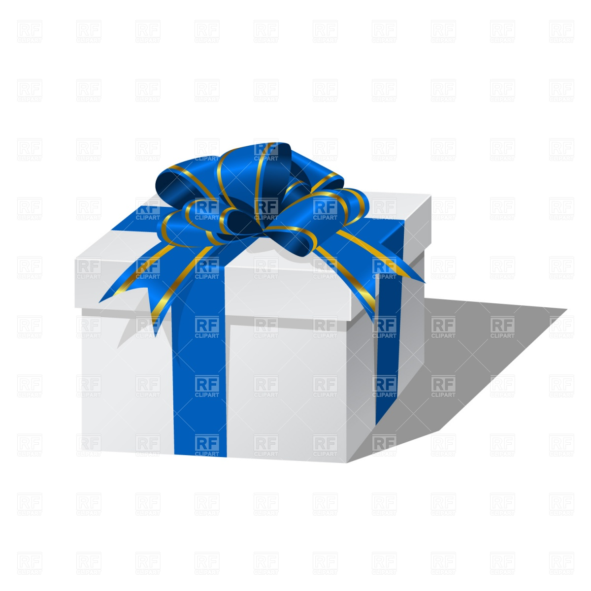 Christmas Gift Box Clipart White Gift Box With Blue