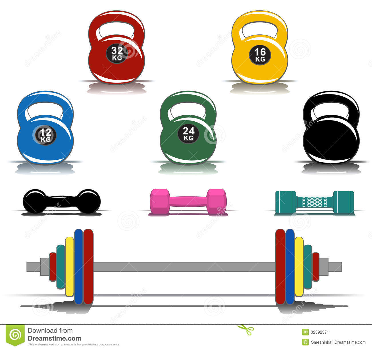 Colorful Fitness Equipment Stock Image   Image  32892371
