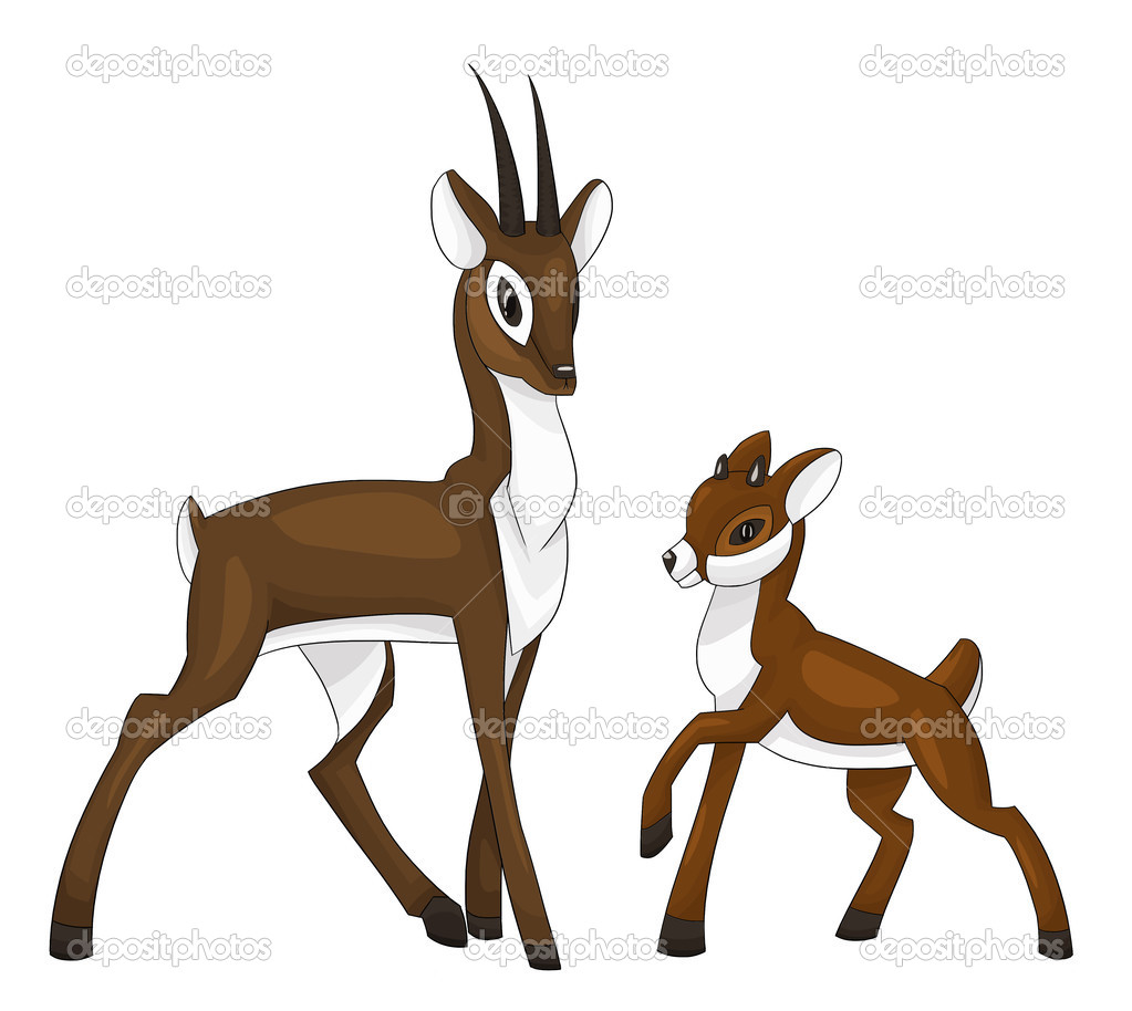 Deer Fawn Clipart Cartoon Style Vector Illustration White Backgr