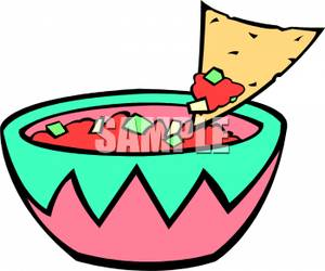 Dip Clipart A Bowl Salsa With A Tortilla Chip Scooping Some Out