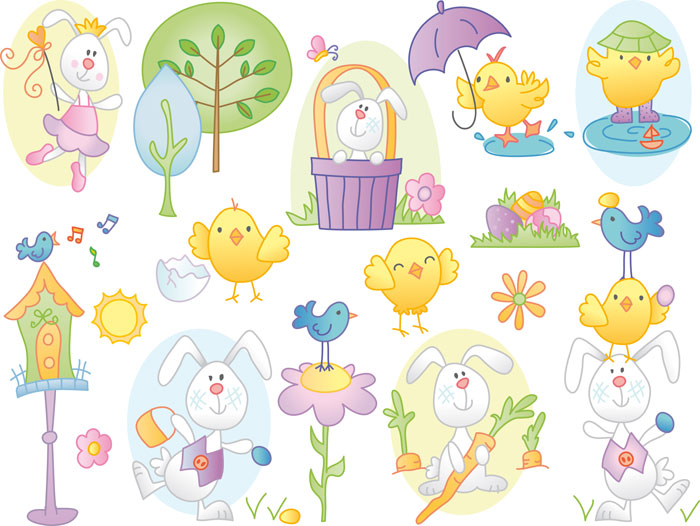 Easter Cartoon Vector Clipart Set Of Funny Vector Easter Cartoon