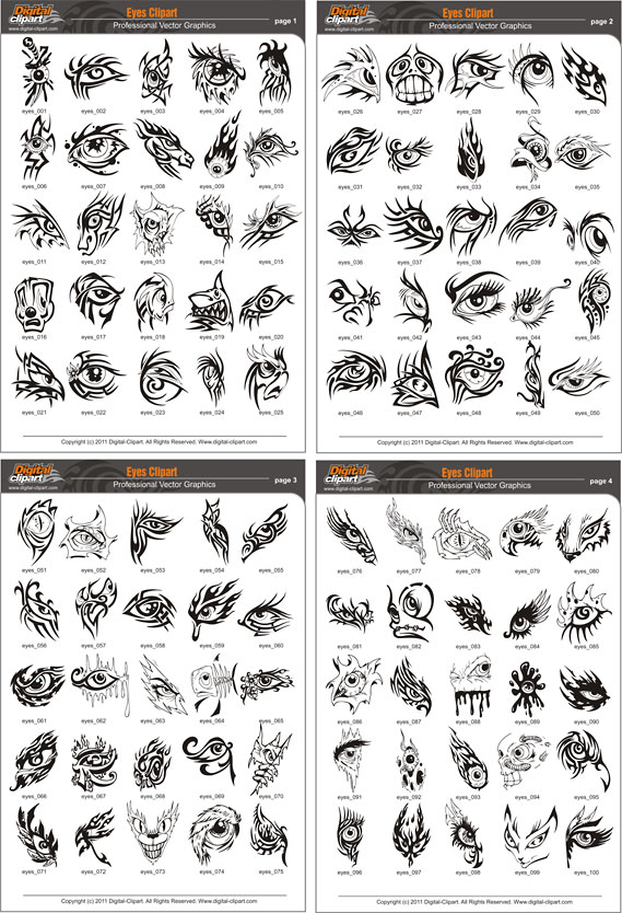 Eyes Clipart   Pdf   Catalog  Cuttable Vector Clipart In Eps And Ai