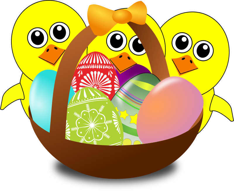 Funny Chicks Cartoon With Easter Eggs In A Basket By Palomaironique