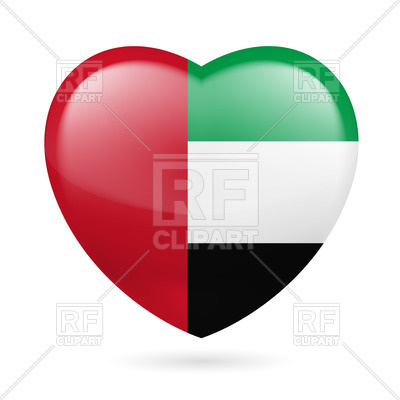 Heart With United Arab Emirates Flag Colors  I Love Uae Vector