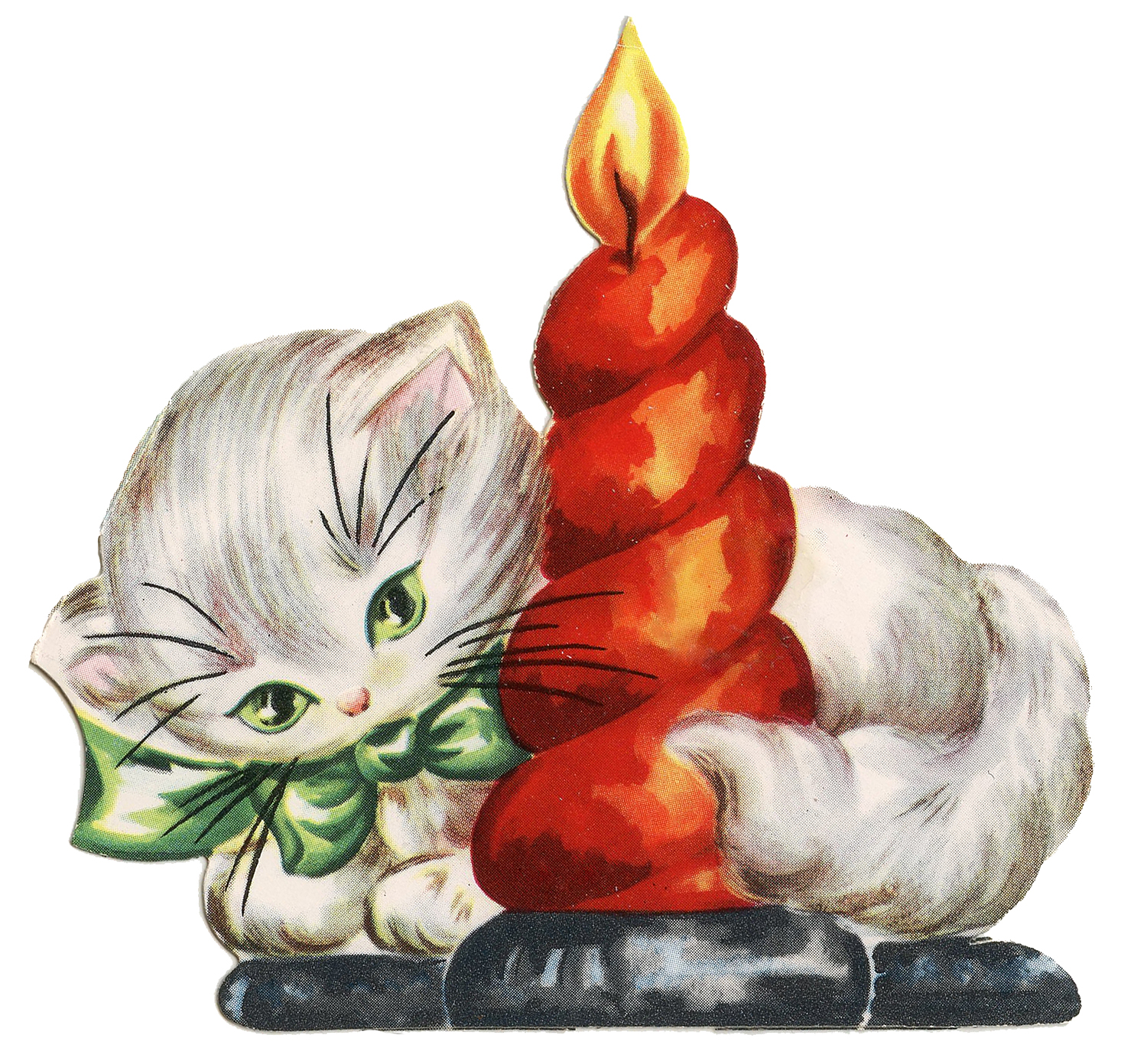 Retro Christmas Clip Art   Kitten With Candle   The Graphics Fairy