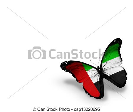 Stock Illustration   Uae Flag Butterfly Isolated On White Background